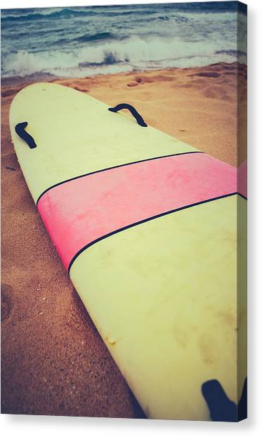 Surfing Canvas Print - Vintage Surf Board In Hawaii by Mr Doomits