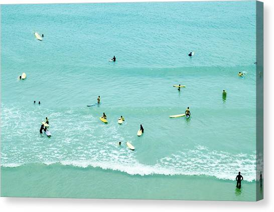 Surfing Canvas Print - Vintage Surfing by Guido Montanes Castillo