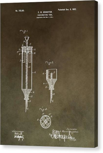 Health Insurance Canvas Print - Vintage Syringe Patent by Dan Sproul