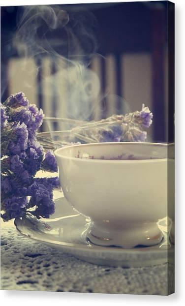 Tea Set Canvas Print - Vintage Tea Set With Purple Flowers by Cambion Art