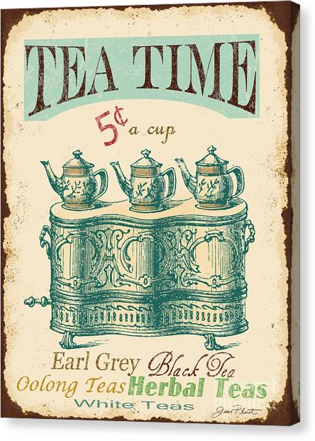 Tea Time Canvas Print - Vintage Tea Time Sign by Jean Plout