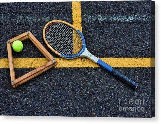 Tennis Racquet Canvas Print - Vintage Tennis by Paul Ward