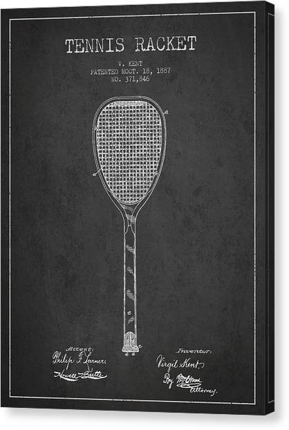 Tennis Ball Canvas Print - Vintage Tennnis Racket Patent Drawing From 1887-dark by Aged Pixel
