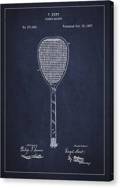 Tennis Ball Canvas Print - Vintage Tennnis Racket Patent Drawing From 1887-navy Blue by Aged Pixel