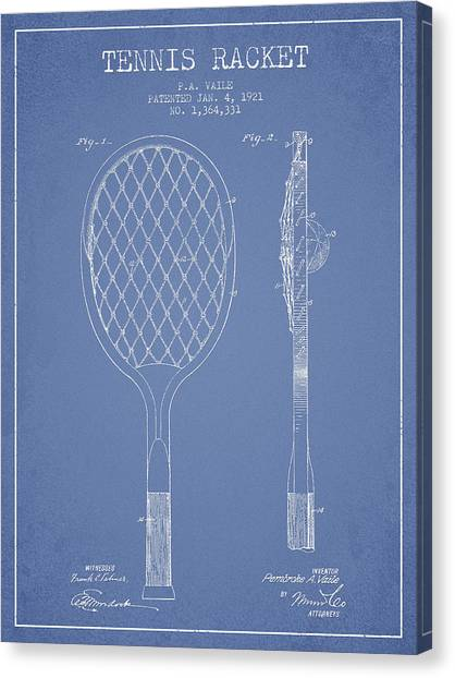 Tennis Ball Canvas Print - Vintage Tennnis Racket Patent Drawing From 1921 by Aged Pixel