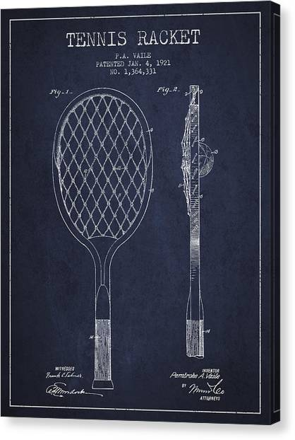 Tennis Ball Canvas Print - Vintage Tennnis Racket Patent Drawing From 1921 - Navy Blue by Aged Pixel