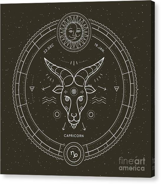 Sun Canvas Print - Vintage Thin Line Capricorn Zodiac Sign by Painterr
