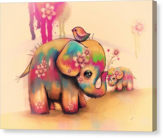 Baby Taylors Canvas Print - Vintage Tie Dye Elephants by Karin Taylor