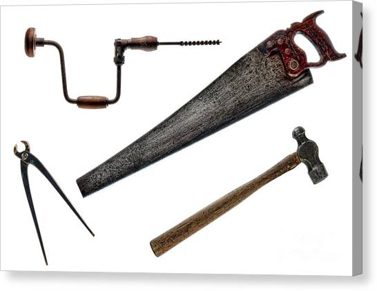 Saws Canvas Print - Vintage Tools Collection  by Olivier Le Queinec