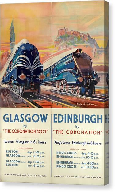 Vintage Train Travel - Glasgow And Edinburgh Canvas Print