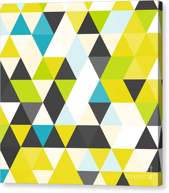 Bright Canvas Print - Vintage Triangle Pattern.geometric by Veronika M