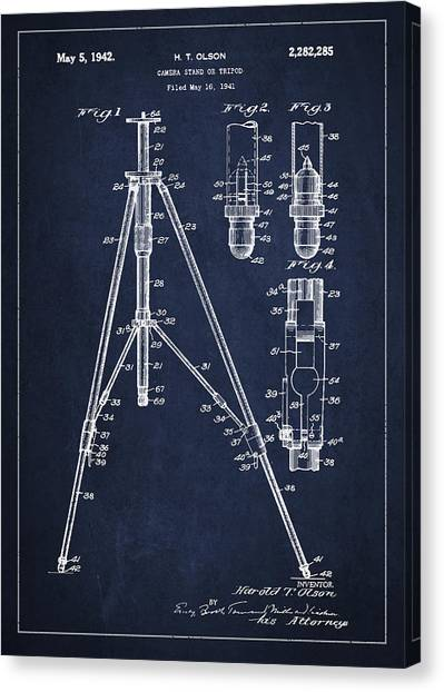 Vintage Camera Canvas Print - Vintage Tripod Patent Drawing From 1941 by Aged Pixel