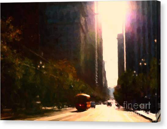 Vintage Trolley Car On Market Street - San Francisco - 5d20849 Canvas Print by Wingsdomain Art and Photography