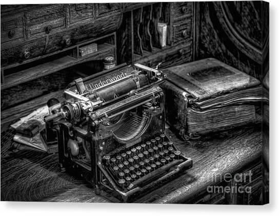 Typewriter Canvas Print - Vintage Typewriter by Adrian Evans