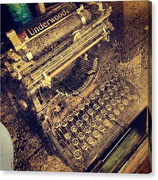 Typewriter Canvas Print - #vintage #typewriter #antique by Amy Fox