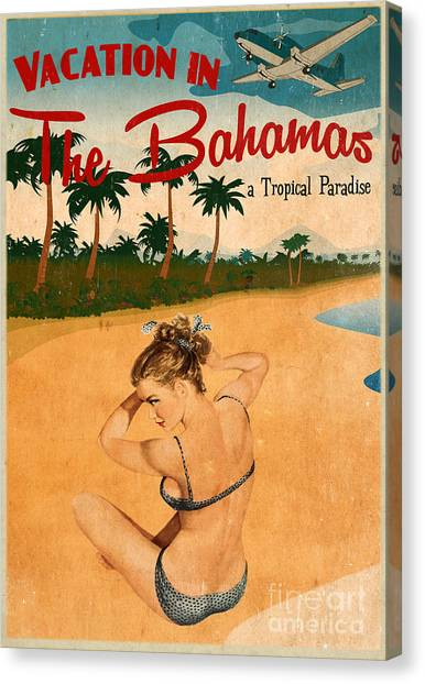 Pinup Canvas Print - Vintage Vacation Ad by Cinema Photography