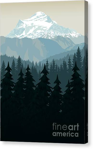 Alps Canvas Print - Vintage Vector Mountains Forest by Savejungle