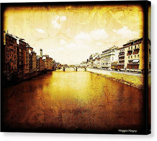 Vintage View Of River Arno Canvas Print