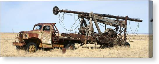 Canvas Print - Vintage Water Well Drilling Truck by Jack Pumphrey