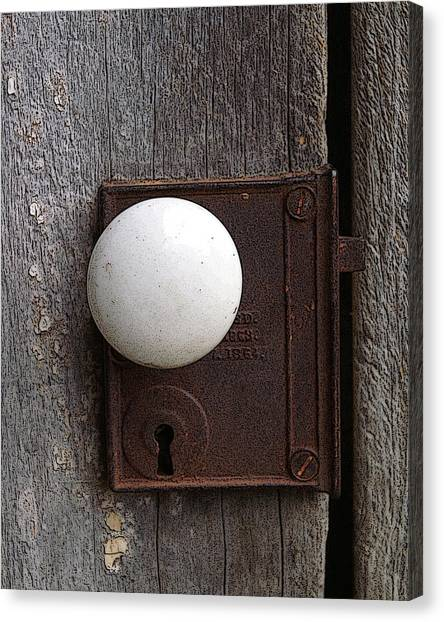 Vintage White Doorknob Canvas Print