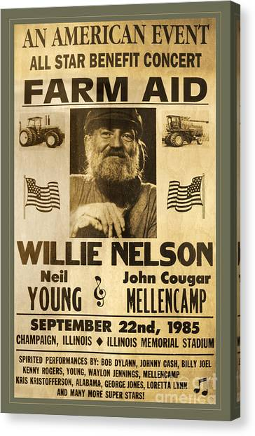 Neil Young Canvas Print - Vintage Willie Nelson 1985 Farm Aid Poster by John Stephens