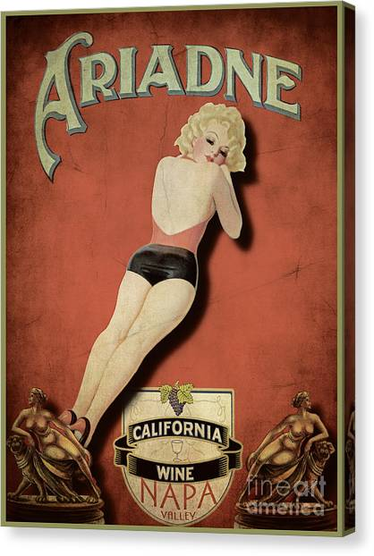 Cocktails Canvas Print - Vintage Wine Ad II by Cinema Photography