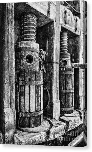Vintage Wine Press Bw Canvas Print