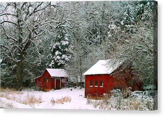 Vintage Winter Barn  Canvas Print