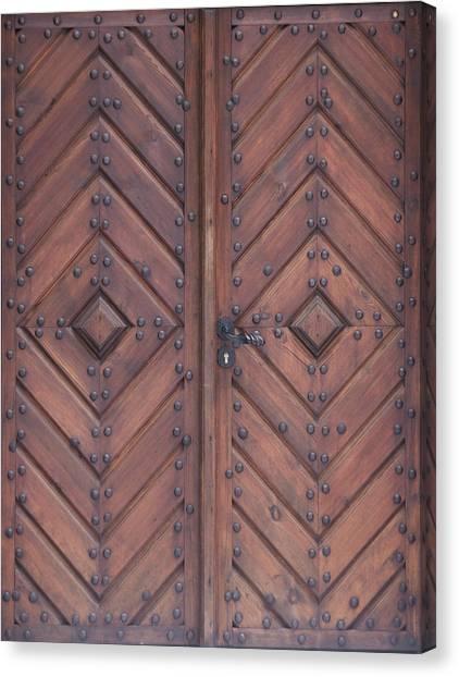 Vintage Wooden Brown Door Close-up Canvas Print