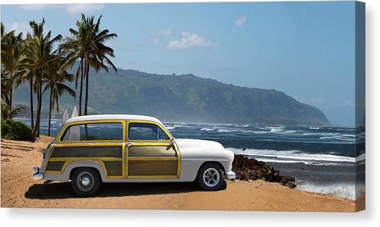 Vintage Woody On Hawaiian Beach Canvas Print