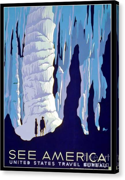 Caverns Canvas Print - Vintage Wpa Poster See America by Edward Fielding