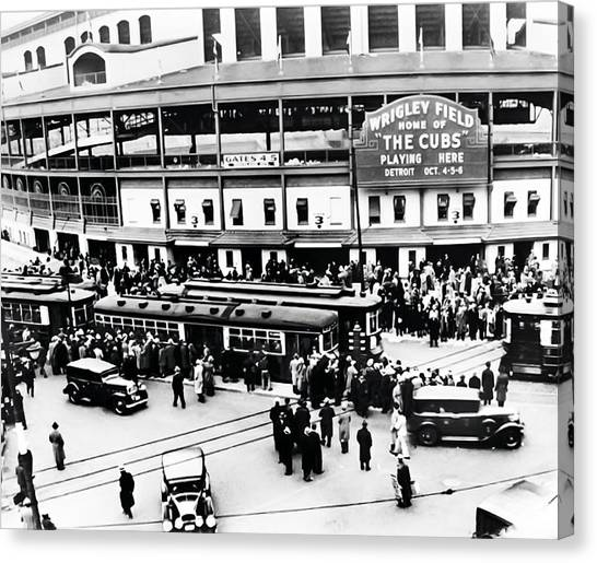 Chicago Cubs Canvas Print - Vintage Wrigley Field by Bill Cannon