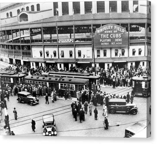 Chicago Cubs Canvas Print - Vintage Wrigley Field by Horsch Gallery