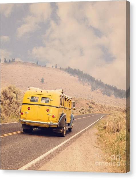 Touring Canvas Print - Vintage Yellowstone Bus by Edward Fielding