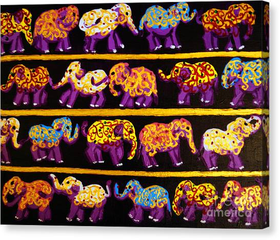 Violet Elephants Canvas Print