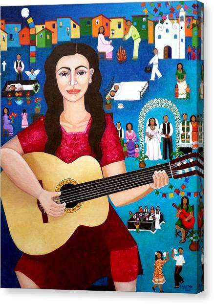 Violeta Canvas Print - Violeta Parra And The Song Black Wedding II by Madalena Lobao-Tello