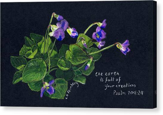 Canvas Print featuring the painting Violets And Psalm 104 by Linda Feinberg