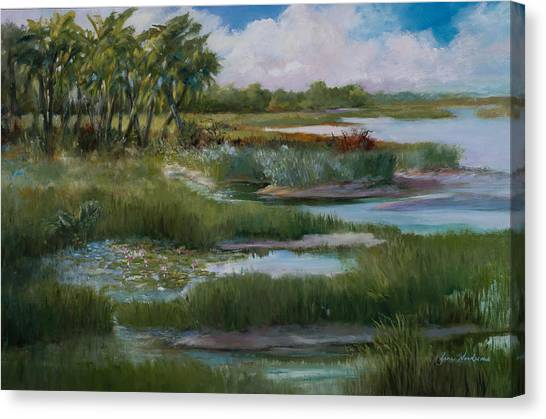 Violets Spring In The Marsh Canvas Print by Jane Woodward