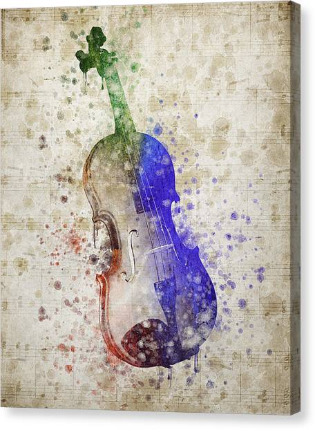 Stringed Instruments Canvas Print - Violin by Aged Pixel