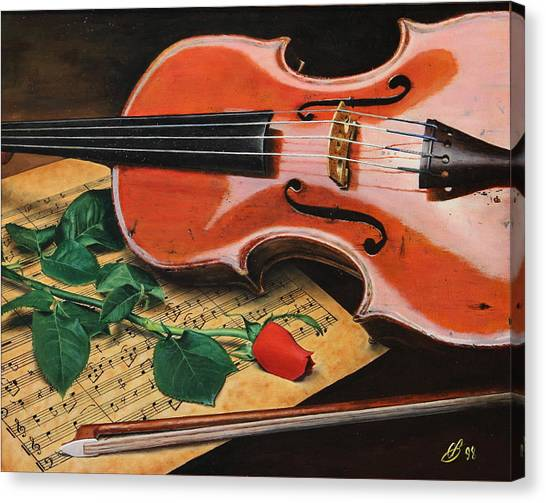Violin And Rose Canvas Print