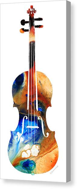 Music Canvas Print - Violin Art By Sharon Cummings by Sharon Cummings