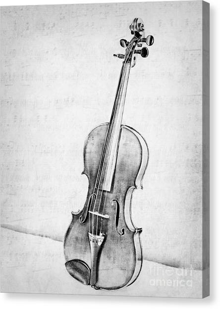 Violins Canvas Print - Violin In Black And White by Emily Kay