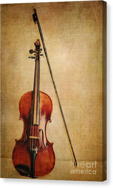 Violins Canvas Print - Violin With Bow by Emily Kay