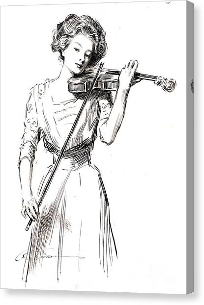 Violins Canvas Print - Violinist 1910 by Padre Art