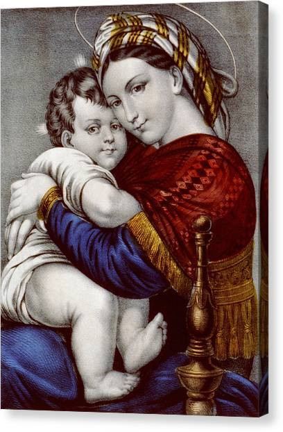 Holy Bible Canvas Print - Virgin And Child Circa 1856  by Aged Pixel