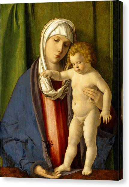 Nude Mom Canvas Print - Virgin And Child by Giovanni Bellini