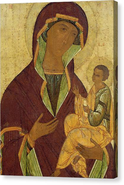 Byzantine Canvas Print - Virgin And Child by Russian School