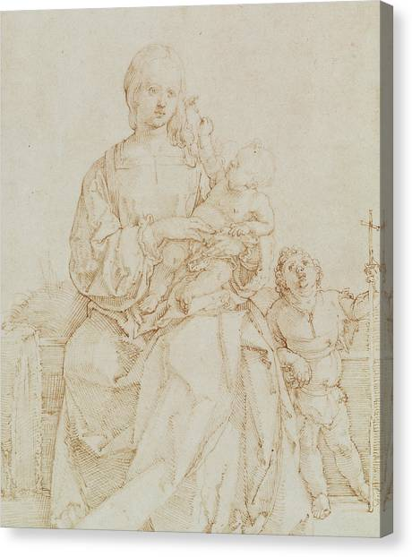 The Christ Ink Drawing Canvas Print - Virgin And Child With Infant St John by Albrecht Durer or Duerer