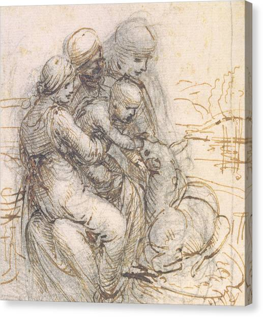 St Mary Canvas Print - Virgin And Child With St. Anne by Leonardo da Vinci