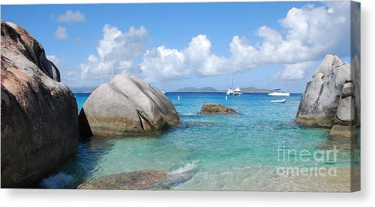 Virgin Islands The Baths With Boats Canvas Print
